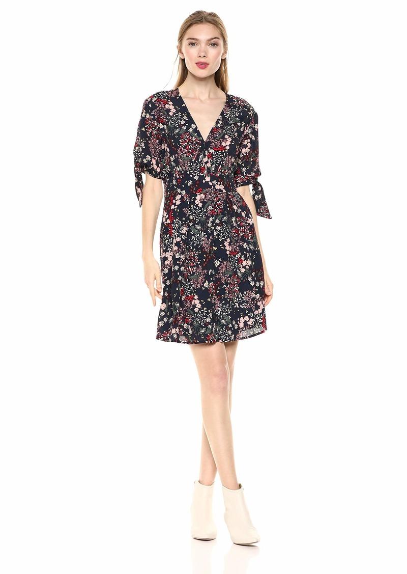 Jessica Simpson Women's Brooklyn Tie Short Sleeve Printed Dress Sky Captain-Ditsy Gypsy