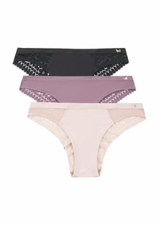Jessica Simpson Women's Brushed Microfiber and Lace Tanga Underwear Multi-Pack