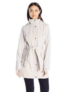 Jessica Simpson Women's Button Down Soft Shell Jacket With Tie Waist