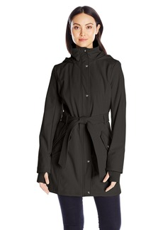 Jessica Simpson Women's Button Down Softshell Jacket with Tie Waist