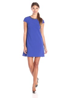Jessica Simpson Women's Cap Sleeve Dress with Neck Embellishment
