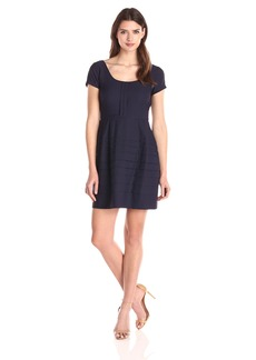 Jessica Simpson Women's Cap Sleeve Fit and Flare Basket Weave Dress