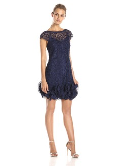 Jessica Simpson Women's Cap Sleeve Ruffle Bottom Dress