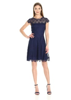 Jessica Simpson Women's Capped Sleeved Lace Fit and Flare Dress
