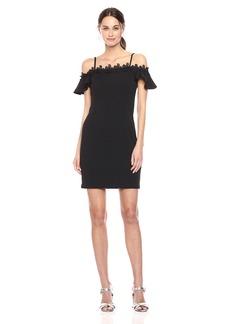 Jessica Simpson Women's Cold Shoulder Dress With Floral Applique