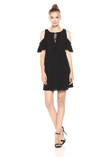 Jessica Simpson Women's Cold Shoulder Dress with Tassel