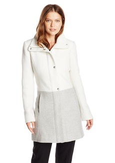 Jessica Simpson Women's Color Block Funnel Neck Wool Coat  Large
