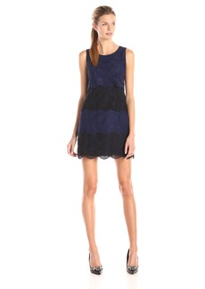 Jessica Simpson Women's Color Block Tiered Lace Dress