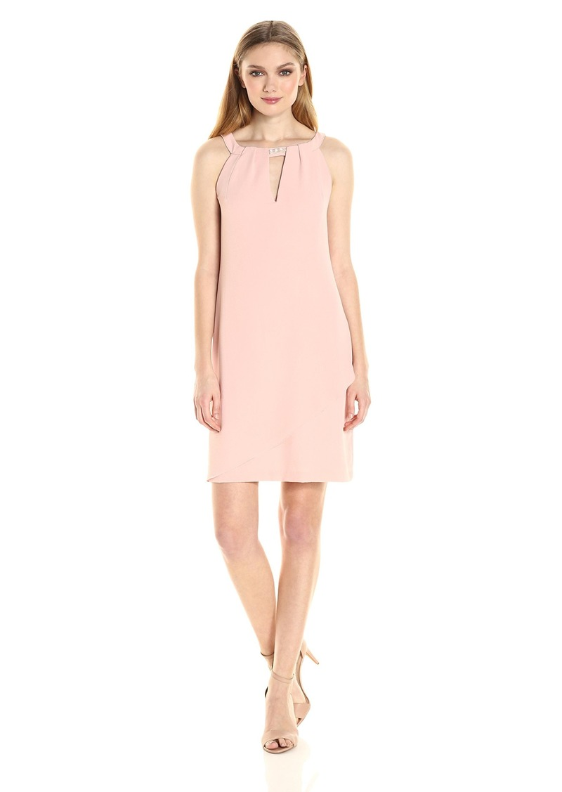 Jessica Simpson Women's Crepe Georgette Dress with Front Overlay