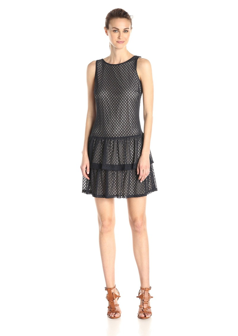 Jessica Simpson Women's Crochet Lace Tiered Dress with Bows