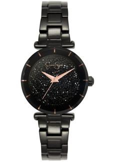 Jessica Simpson Women's Crushed Crystal Black Tone Bracelet Watch 32mm