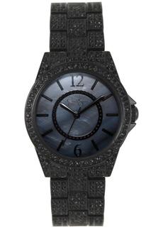 Jessica Simpson Women's Crystal Encrusted Black Plated Bracelet Watch 36mm