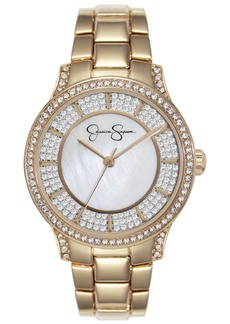 Jessica Simpson Women's Crystal Encrusted Gold Tone Bracelet Watch 36mm