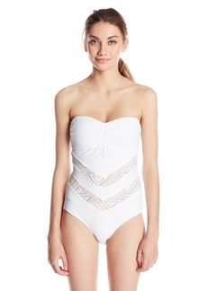 Jessica Simpson Women's Cut-Out Crochet Bandeau One Piece