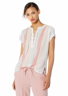 Jessica Simpson Women's Dalton Short Sleeve Lace Up Top with V-Neckline Airy Blue-Cayenne Stripe