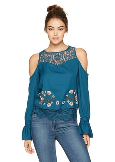 Jessica Simpson Women's Dara Cropped Cold Shoulder Top  X Small