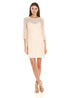 Jessica Simpson Women's Deco Lace Dress with Tulip Sleeve