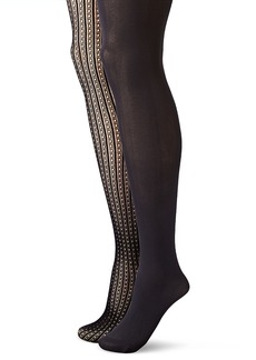 Jessica Simpson Women's Dot and Stripe Net Tight and Scallop Edge Opaque Fashion Tight 2-Pack