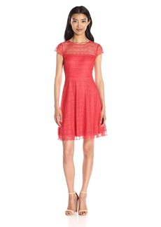 Jessica Simpson Women's Dot Scalloped Lace Fit-and-Flare Dress