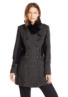 Jessica Simpson Women's Double Breasted Wool Coat with Faux Fur Collar