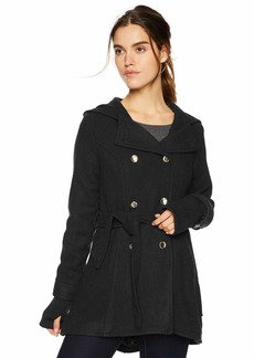 Jessica Simpson Women's Double Breasted Wool Fashion Coat Black M