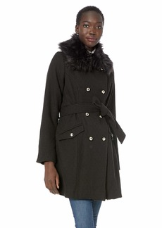 Jessica Simpson Women's Double Breasted Wool Fashion Coat Black S