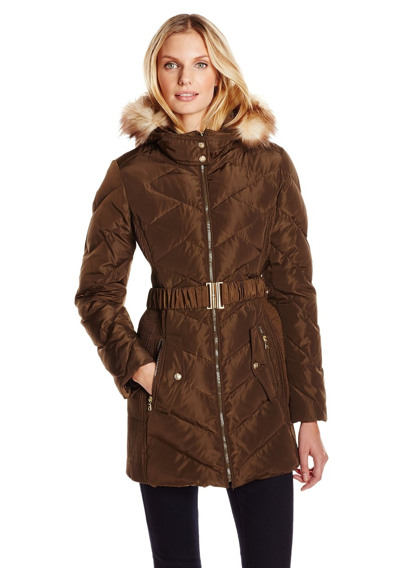Jessica Simpson Women's Down Coat with Belt and Side Panel Details ilitary edium