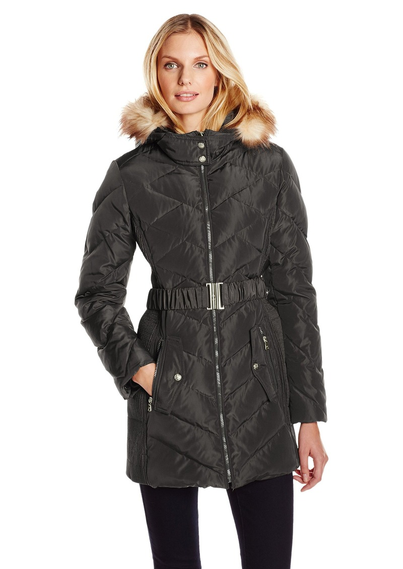 Jessica Simpson Women's Down Coat with Belt and Side Panel Details  X-Small