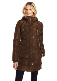 Jessica Simpson Women's Down Parka Front Pockets with Hood and Knit Sleeve Cuffs