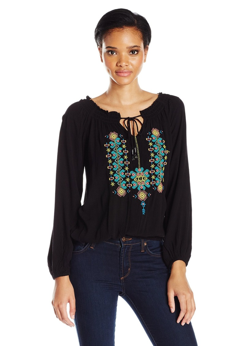 Jessica Simpson Women's Elizabella Peasant Top black S