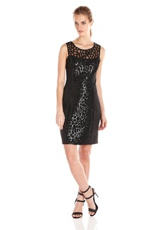 Jessica Simpson Women's Embellished Cut Out Sequin Dress with Scuba