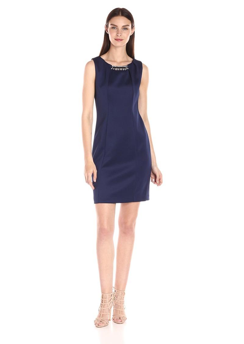 Jessica Simpson Women's Embellished Sleeveless Scuba Dress