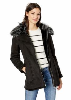 Jessica Simpson Women's Faux Shearling Fashion Coat Black L