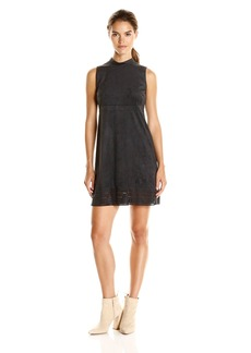 Jessica Simpson Women's Faux Suede Mock Neck Dress