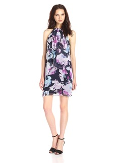 Jessica Simpson Women's Floral Halter Dress with Necklace Detailing