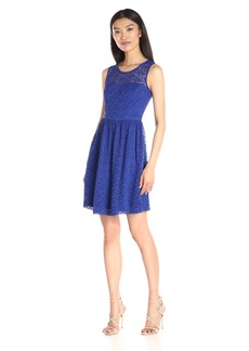Jessica Simpson Women's Floral Lace Fit-and-Flare Dress