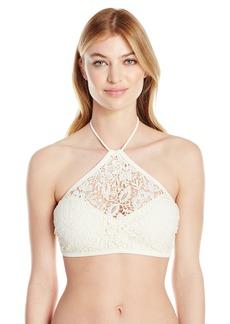 Jessica Simpson Women's Flower Power Crochet Halter High Neck Bikini Top  S