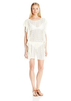 Jessica Simpson Women's Flower Power Flutter Crochet Dress Swimsuit Cover up  M