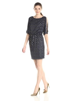 Jessica Simpson Women's Foiled Mesh Dress with 3/4 Sleeves and Self Sash