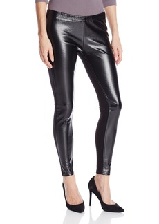 Jessica Simpson Women's Front Panel Faux Pleather Cut and Sew Legging  L