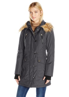 Jessica Simpson Women's Fuax Fur Hooded Parka  L