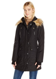 Jessica Simpson Women's Fuax Fur Hooded Parka  XL