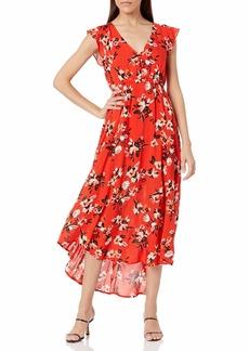 Jessica Simpson Women's Plus Size Gabbie Ruffle Trim Side Slit Maxi Dress
