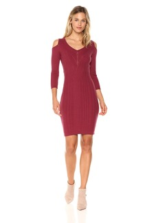 Jessica Simpson Women's Gail Cold Shoulder Sweater Dress  X Small