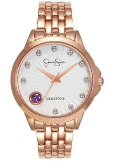Jessica Simpson Women's Genuine Amethyst and White Topaz Rose Gold Tone Bracelet Watch 38mm