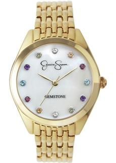 Jessica Simpson Women's Genuine Gemstone Gold Tone Bracelet Watch 37mm