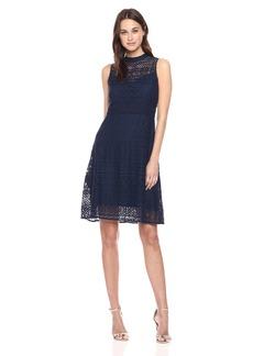 Jessica Simpson Women's Geo Lace Mock Neck Dress