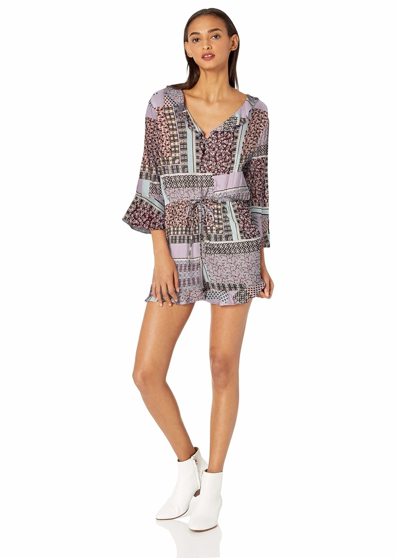 Jessica Simpson Women's Gracen Bell Sleeve Romper Morganite-Electrix Mix Print