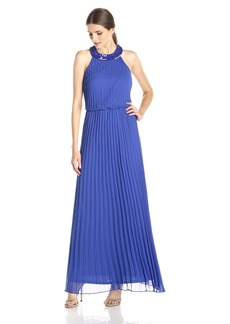 Jessica Simpson Women's Halter Embellished Neck and Back Gown