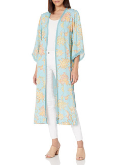 Jessica Simpson Women's Holly Chic Lace Trim 3/4 Sleeve Duster